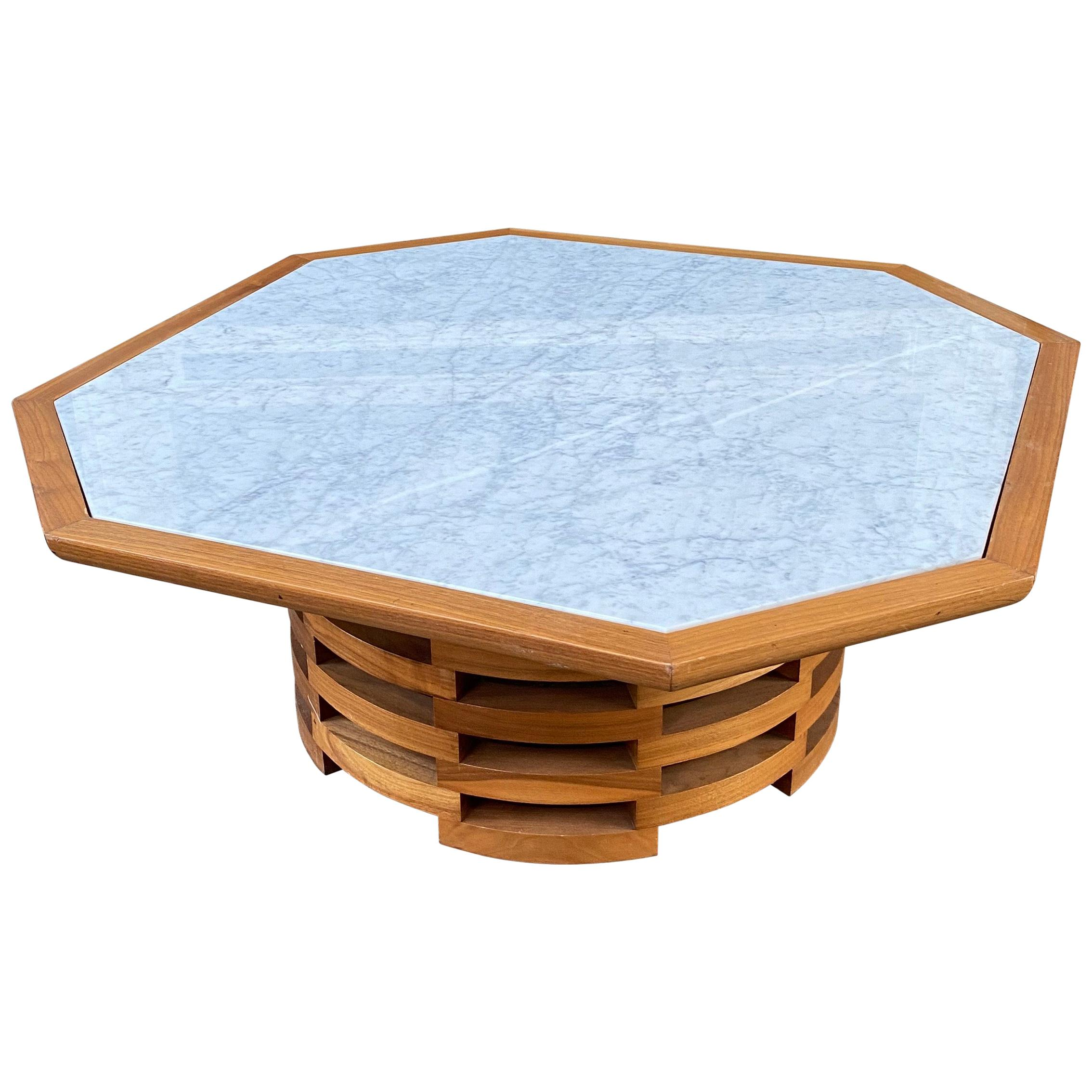 Octagonal Marble-Top Coffee Table
