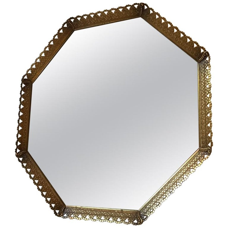 Octagonal Midcentury Danish Vanity Brass Mirror, 1950s For Sale