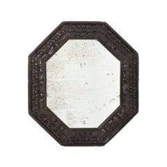 Octagonal Mirror in Blackened Wood and Oxidized Mirror, circa 1900