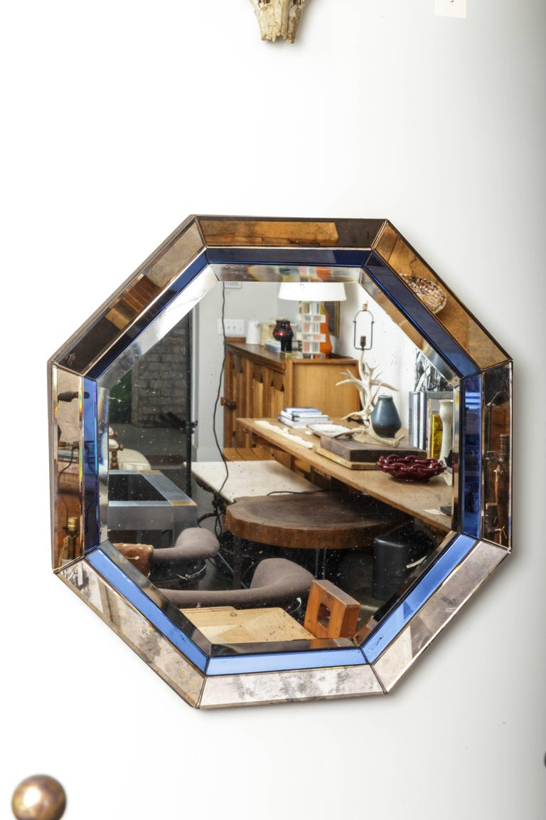 French Octagonal Mirror with Blue and Antiqued Silver Frame For Sale