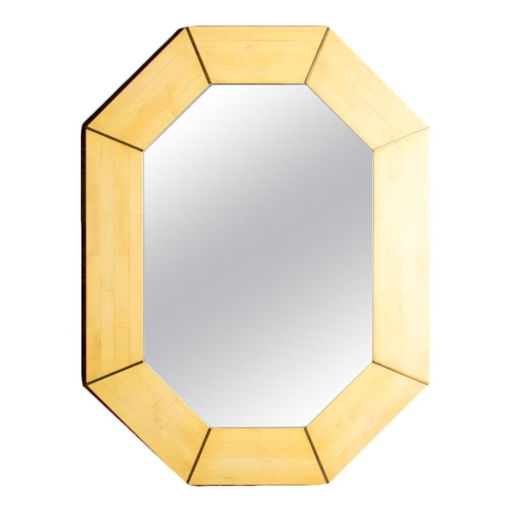 Octagonal Mirror with Brass Details, American, circa 1975