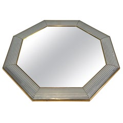 Octagonal Mirror with Lucite on the Sides, French, circa 1970