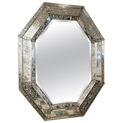 Octagonal Murano Glass Mirror, Italy, Early 20th Century