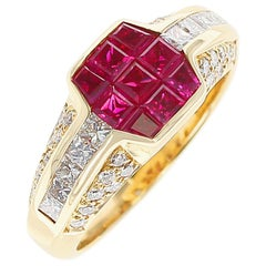 Octagonal Mystery Set Ruby and Diamond Ring, 18 Karat Yellow Gold