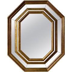 Octagonal Panelled Brass Framed Mirror by Rodolfo Dubarry