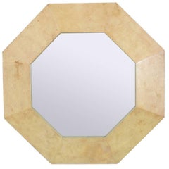 Octagonal Parchment Mirror in the Manner of Karl Springer