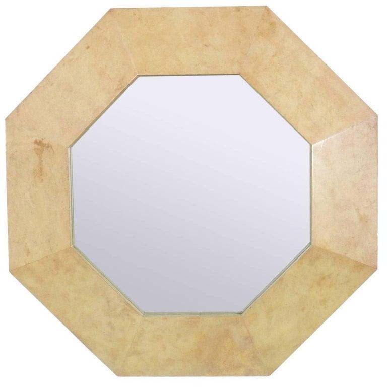 Octagonal Parchment Mirror in the Manner of Karl Springer