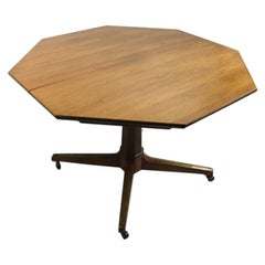 Octagonal Pedestal Dining Table with 2 Leaves Attributed to Kipp Stewart