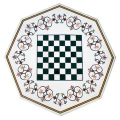Octagonal Pietre Dure Marble Inlay Mosaic Chess Table Top with Lapis and Jade