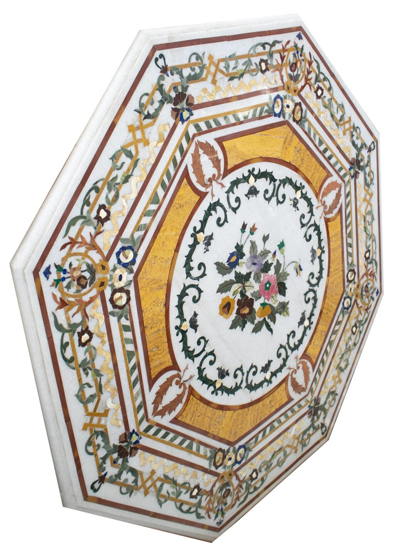 Octagonal Italian pietre dure technique handmade mosaic white marble tabletop with blue lapis, green jade and other semiprecious stones inlay.