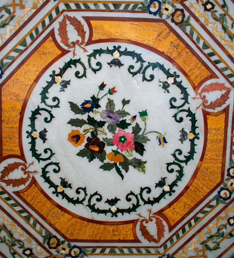 European Octagonal Pietre Dure Marble Inlay Mosaic Table Top with Lapis and Jade For Sale