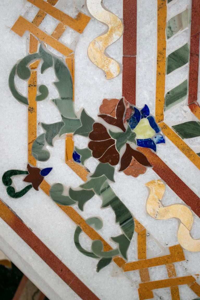 20th Century Octagonal Pietre Dure Marble Inlay Mosaic Table Top with Lapis and Jade For Sale