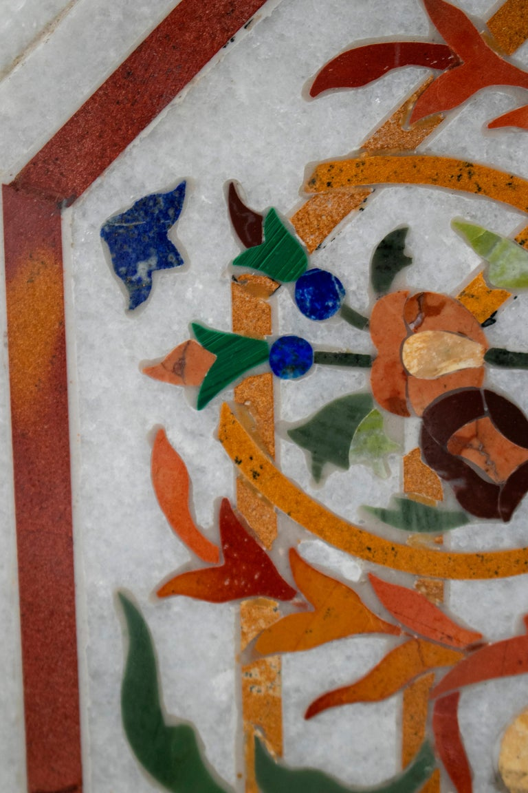 Octagonal Pietre Dure Marble Inlay Mosaic Table Top with Lapis and Jade For Sale 4