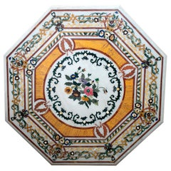 Octagonal Pietre Dure Marble Inlay Mosaic Table Top with Lapis and Jade
