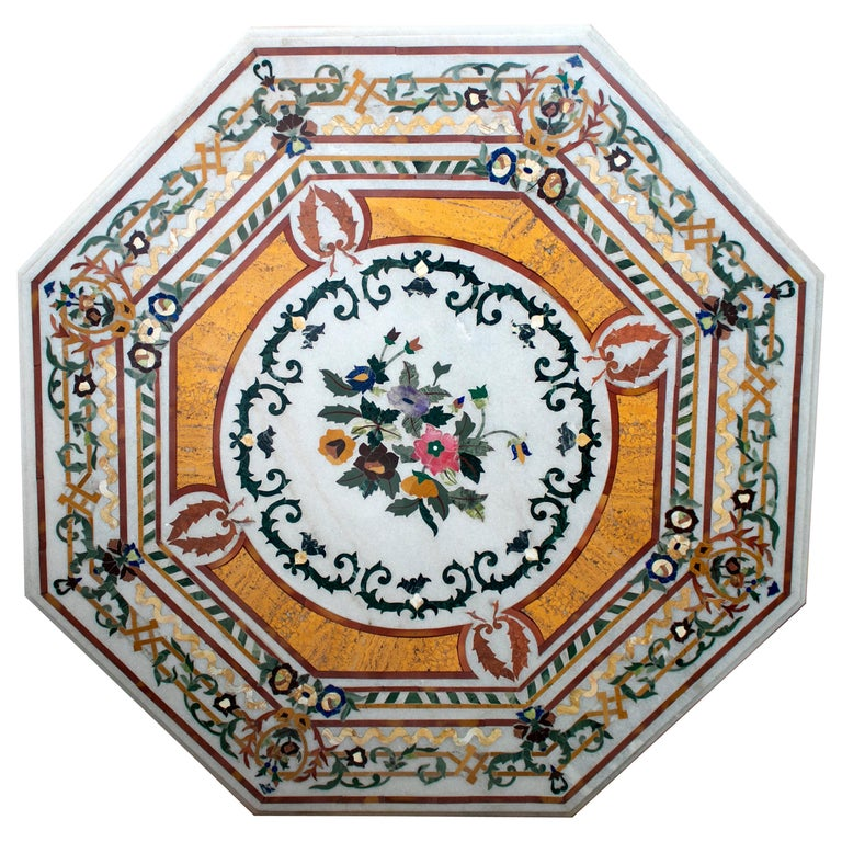 Octagonal Pietre Dure Marble Inlay Mosaic Table Top with Lapis and Jade For Sale
