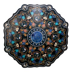 Octagonal Pietre Dure Marble Inlay Mosaic Table Top with Lapis and Turquoise