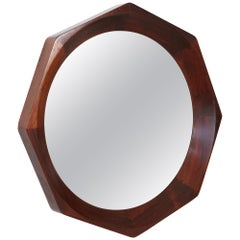 Octagonal Rosewood Mirror by BVK Denmark