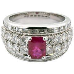 Octagonal Ruby with Round and Baguette Diamonds White Gold Ring Made in Italy
