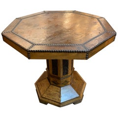 Octagonal Shaped Carved Side Table with Leather Top