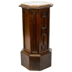 Octagonal Shaped English Carved Oak Marble-Top Pedestal