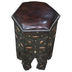 Leather Top Octagonal Shaped Decorative Bone, Silver Stool, Morocco, Midcentury