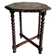 Octagonal Side Table Bobbin Turned Legs, Late 19th Century