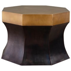 Octagonal Side Table with Brass, Antique Copper by Robert Kuo, Limited Edition