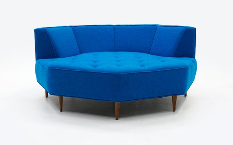 Mid-Century Modern Octagonal Sofa Attributed to Harvey Probber, Restored in Blue Maharam Fabric For Sale