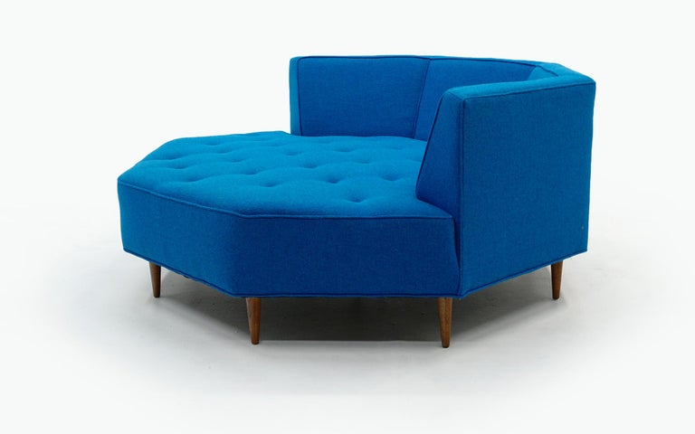 American Octagonal Sofa Attributed to Harvey Probber, Restored in Blue Maharam Fabric For Sale