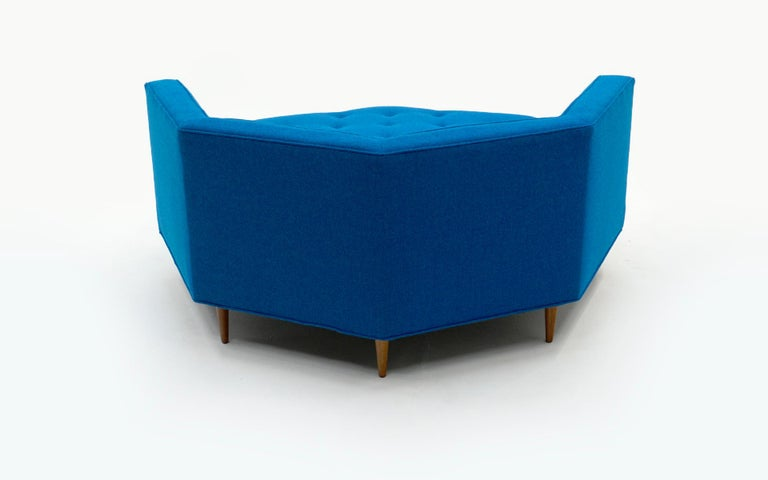 Octagonal Sofa Attributed to Harvey Probber, Restored in Blue Maharam Fabric In Excellent Condition For Sale In Kansas City, MO