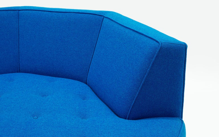 Mid-20th Century Octagonal Sofa Attributed to Harvey Probber, Restored in Blue Maharam Fabric For Sale