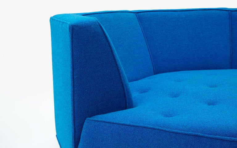 Upholstery Octagonal Sofa Attributed to Harvey Probber, Restored in Blue Maharam Fabric For Sale