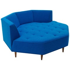 Octagonal Sofa Attributed to Harvey Probber, Restored in Blue Maharam Fabric