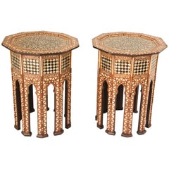 Octagonal Turkish Moorish Side Tables Inlaid with Mother of Pearl