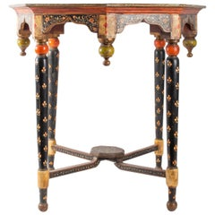 Octagonal Table in Polychrome Wood, North India, 1900