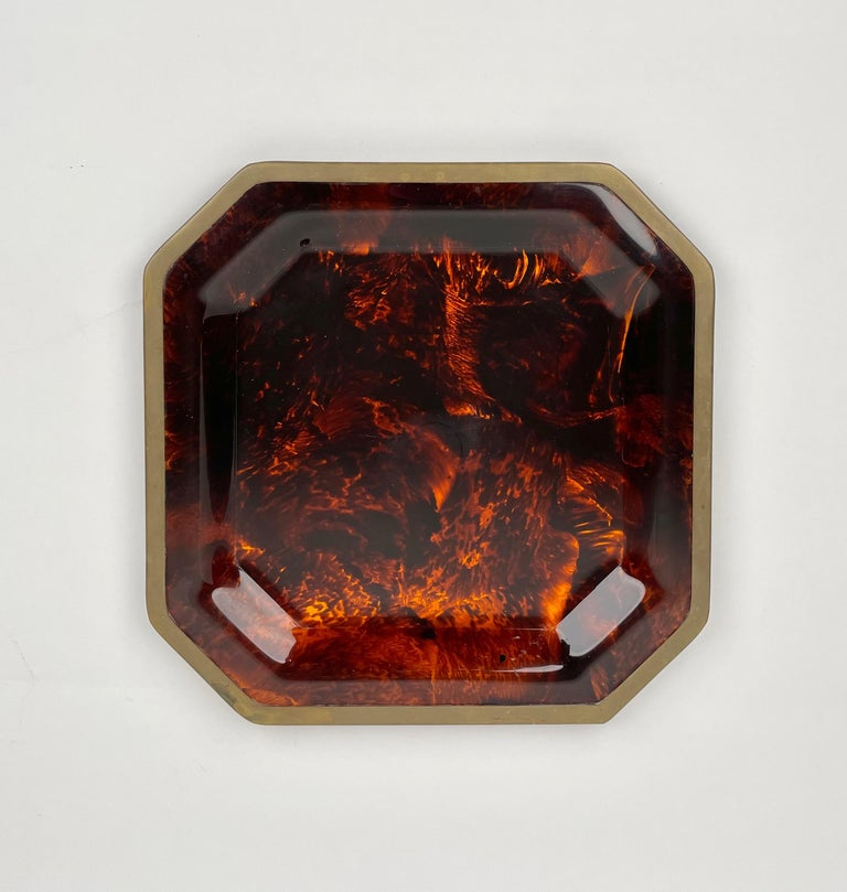 Mid-Century Modern Octagonal Tortoise Shell Lucite & Brass Centerpiece Christian Dior Italy, 1970s For Sale