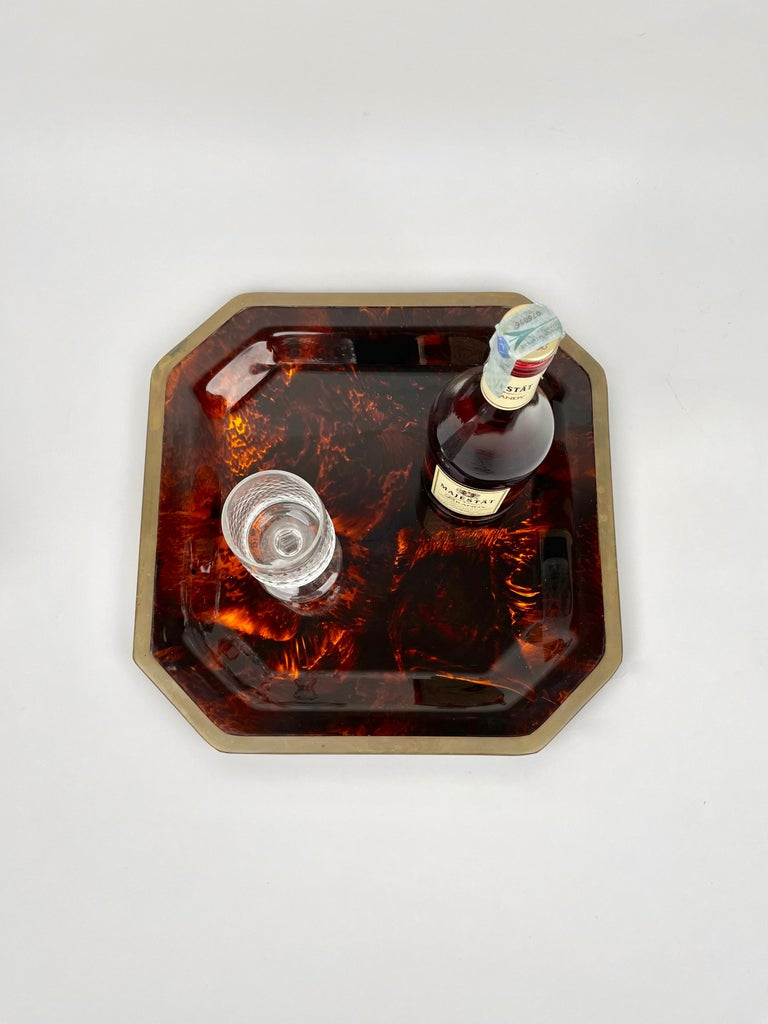 Metal Octagonal Tortoise Shell Lucite & Brass Centerpiece Christian Dior Italy, 1970s For Sale