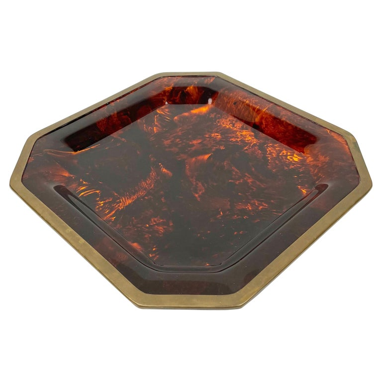 Octagonal Tortoise Shell Lucite & Brass Centerpiece Christian Dior Italy, 1970s For Sale