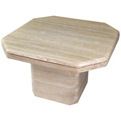 Octagonal Travertine Side Table, Italy, 1970