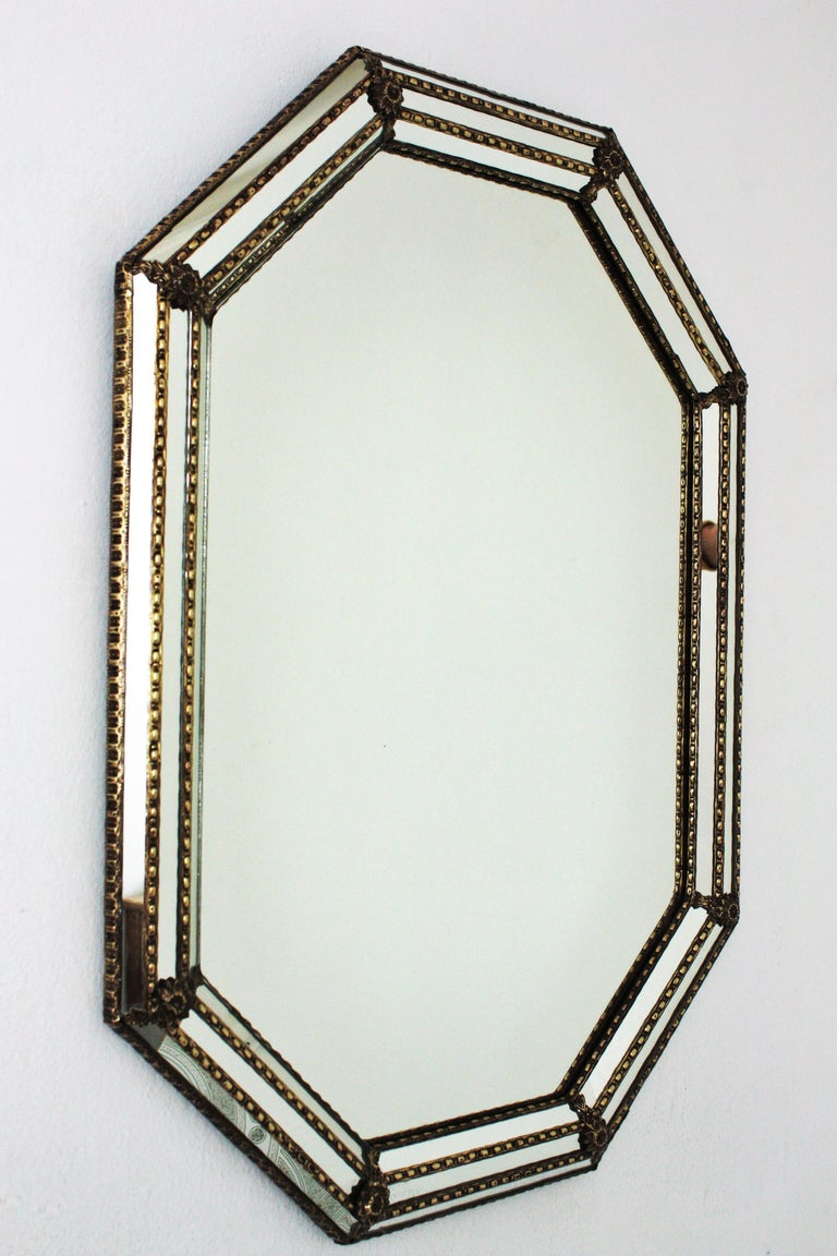 Hollywood Regency Octagonal Venetian Style Mirror with Brass Details For Sale
