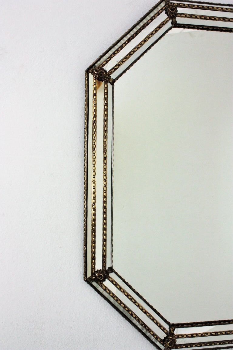 Spanish Octagonal Venetian Style Mirror with Brass Details For Sale