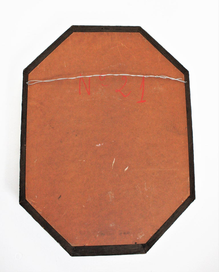 Metal Octagonal Venetian Style Mirror with Brass Details For Sale