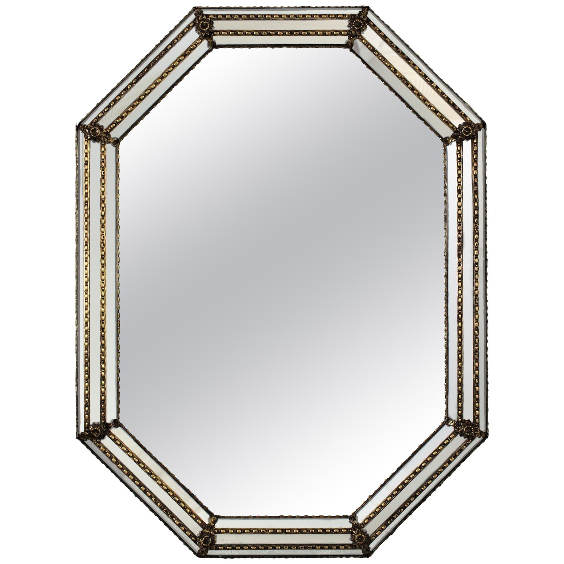 Octagonal Venetian Style Mirror with Brass Details
