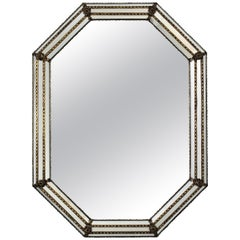 Octagonal Venetian Style Mirror with Brass Details