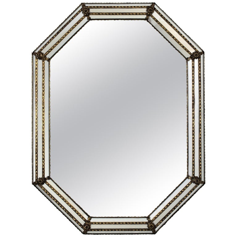 Octagonal Venetian Style Mirror with Brass Details For Sale