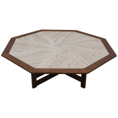 Octagonal Walnut and Travertine Coffee Table by Harvey Probber