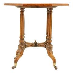 Antique Octagonal Table, Burr Walnut Table, Victorian, Scotland 1880, B1782