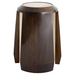 Octantis Modern Side Table Made of Walnut with Bronze Top