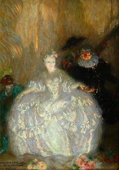 Commedia dell'arte - Post Impressionist Oil, Figures in Theatre by Guillonnet