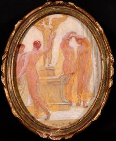 Dancing Nymphs - Post Impressionist Oil, Figures Dancing by Octave Guillonnet